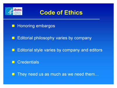 Slide 24. Code of Ethics