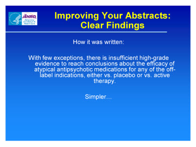 Slide 8. Improving Your Abstracts: Clear Findings