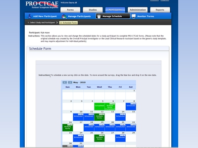 Slide 31. Image: A screen shot of the Pro-CTCAE Patient Symptom Reporter Web site is shown. The Schedule Form page is featured.
