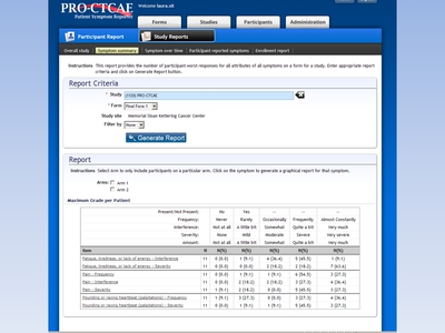 Image: A screen shot of the Pro-CTCAE Patient Symptom Reporter Web site is shown. The Symptom summary page is featured.