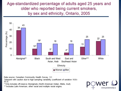 Age-standardized percentage of adults aged 25 years and older who reported being current smokers, by sex and ethnicity, Ontario, 2005