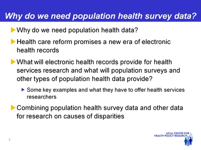 Why do we need population health survey data?