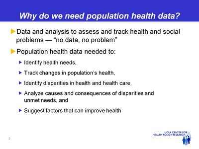 Why do we need population health data?