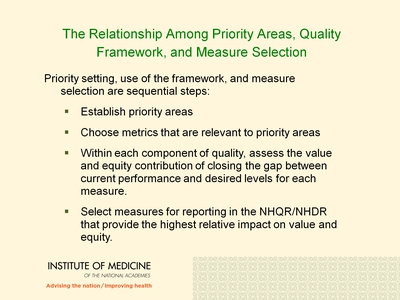 The Relationship Among Priority Areas, Quality Framework, and Measure selection