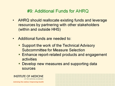 #9: Additional Funds for AHRQ.