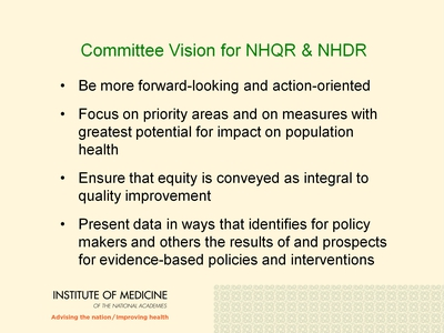 Committee Vision for NHQR and NHDR