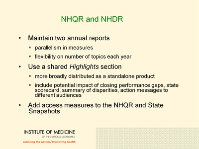 NHQR and NHDR