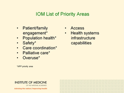 IOM List of Priority Areas