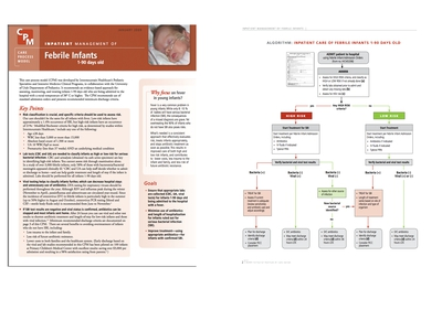 An image of a page titled Inpatient Managemnt of Febrile Infants 1-90 days old