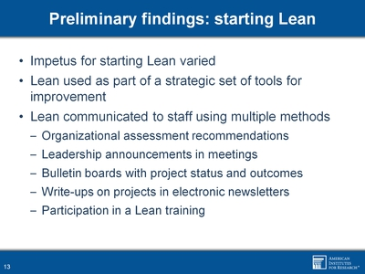 Preliminary findings: starting Lean