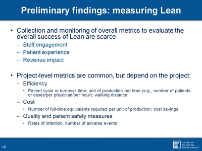 Preliminary findings: measuring Lean