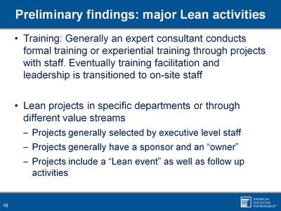 Preliminary findings: major Lean activities