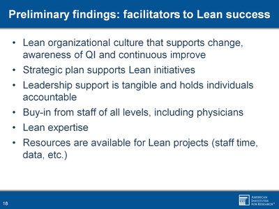 Preliminary findings: facilitators to Lean success