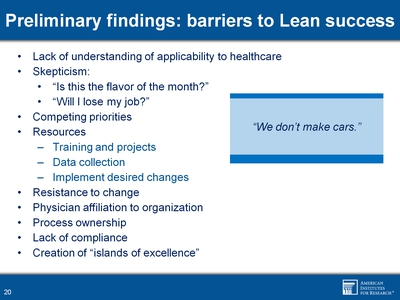 Preliminary findings: barriers to Lean success