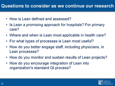 Questions to consider as we continue our research