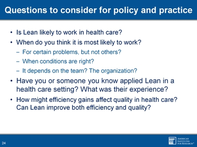 Questions to consider for policy and practice