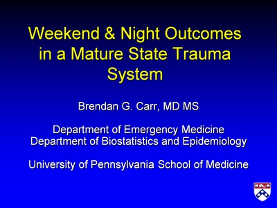 Weekend and Night Outcomes in a Mature State Trauma System