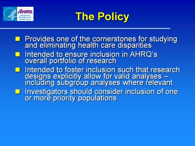 Slide 5. The Policy