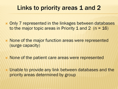 Links to Priority Areas 1 and 2