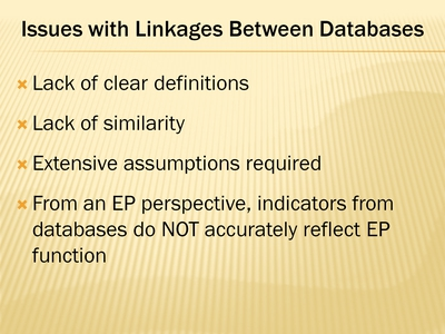 Issues with Linkages Between Databases