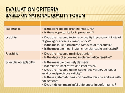 Evaluation Criteria Based on National Quality Forum