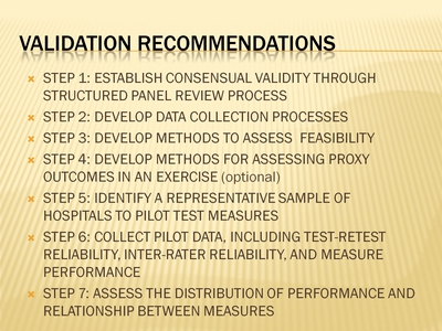 Validation Recommendations