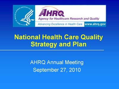 National Health Care Quality Strategy and Plan