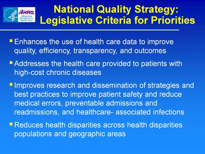 National Quality Strategy: Legislative Criteria for Priorities