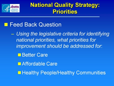 National Quality Strategy: Priorities