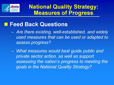 National Quality Strategy: Measures of Progress