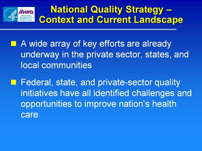 National Quality Strategy-Context and Current Landscape