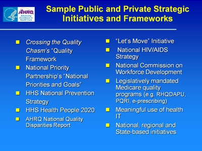 Sample Public and Private Strategic Initiatives and Frameworks