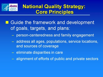 National Quality Strategy: Core Principles