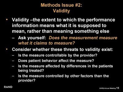 Methods Issue #2: Validity