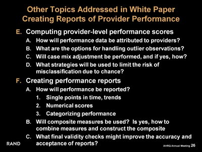 Other Topics Addressed in White Paper: Creating Reports of Provider Performance
