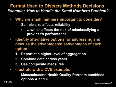 Format Used to Discuss Methods Decisions:  Example: How to Handle the Small Numbers Problem?