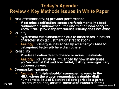 Today's Agenda: Review 4 Key Methods Issues in White Paper