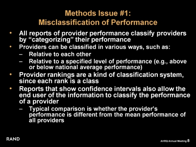 Methods Issue #1: Misclassification of Performance