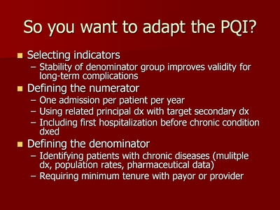 So you want to adapt the PQI?