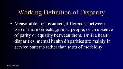 Working Definition of Disparity