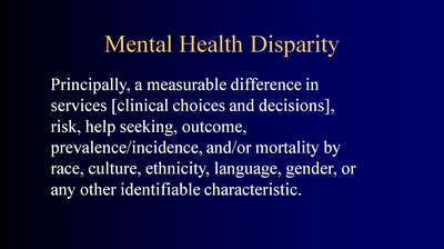 Mental Health Disparity