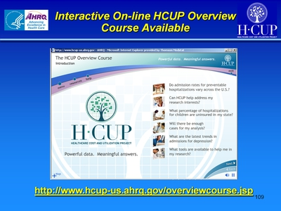 Interactive On-line HCUP Overview Course Available