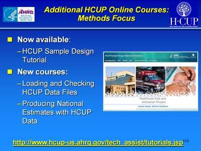 Additional HCUP Online Courses: Methods Focus