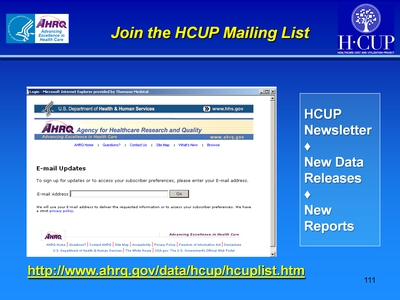 Join the HCUP Mailing List