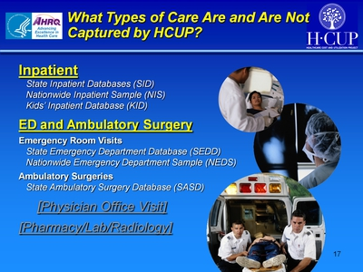 What Types of Care Are and Are Not Captured by HCUP?