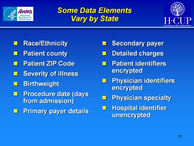 Some Data Elements Vary by State
