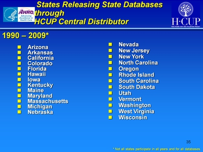 States Releasing State Databases through HCUP Central Distributor
