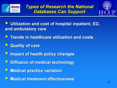 Types of Research the National Databases Can Support