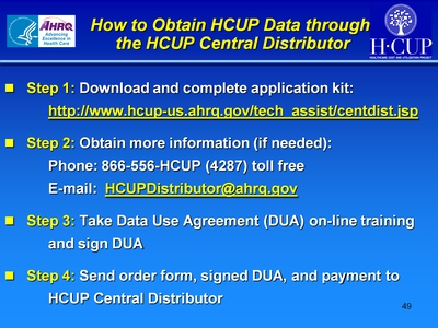 How to Obtain HCUP Data through the HCUP Central Distributor