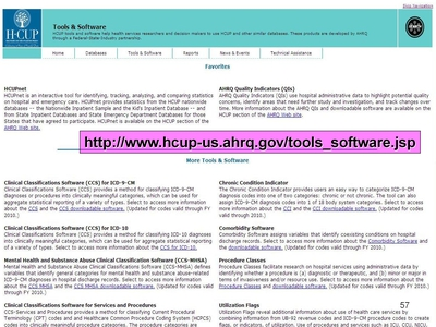 Screen Shot of the HCUP Tools and Software page